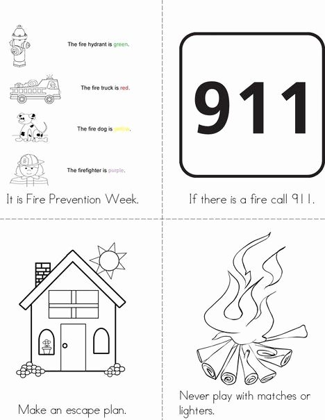 911 Worksheets for Preschoolers top Fire Prevention Week Mini Book