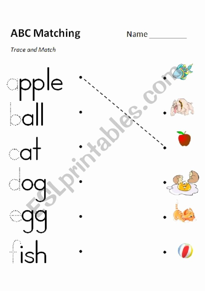 Abc Matching Worksheets for Preschoolers Free Phonics Matching Versions In Color and Grayscale Esl