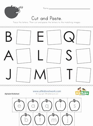 Abc Matching Worksheets for Preschoolers Kids Cut and Paste Letter Matching Worksheet