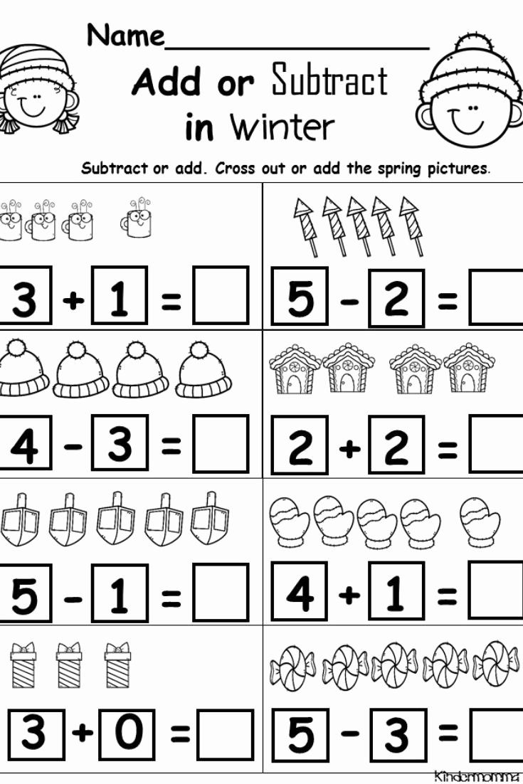 Addition and Subtraction Worksheets for Preschoolers Kids Kindergarten Math Worksheets Addition and Subtraction