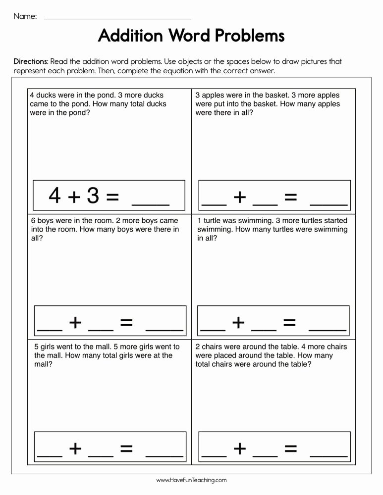 Addition Word Problems Worksheets for Preschoolers Inspirational Addition Single Digit Word Problems Worksheet
