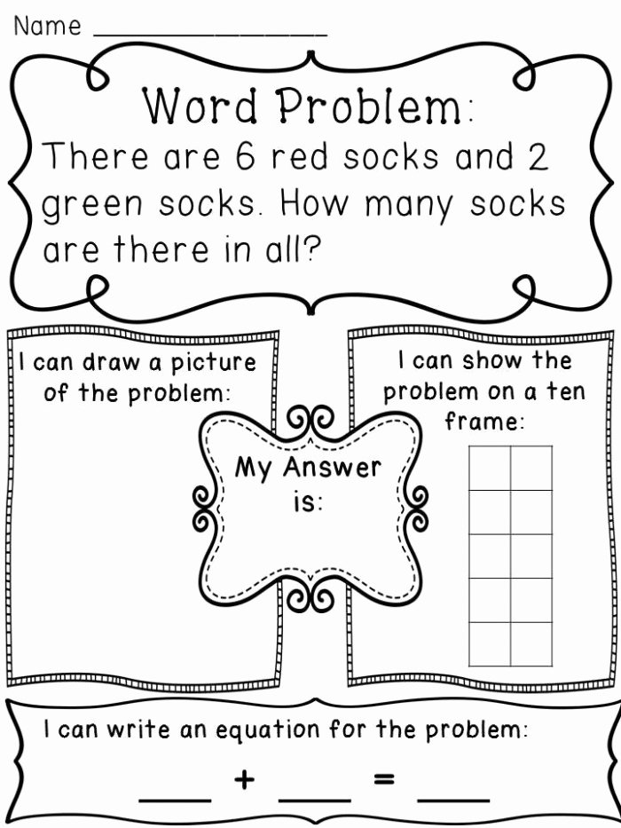 Addition Word Problems Worksheets for Preschoolers Kids Word Problems for Kids Worksheets