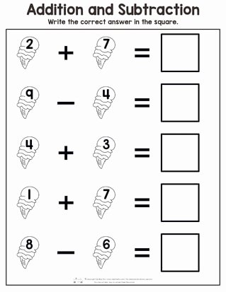 Addition Worksheets for Preschoolers Ideas Summer Addition and Subtraction Worksheets Itsybitsyfun