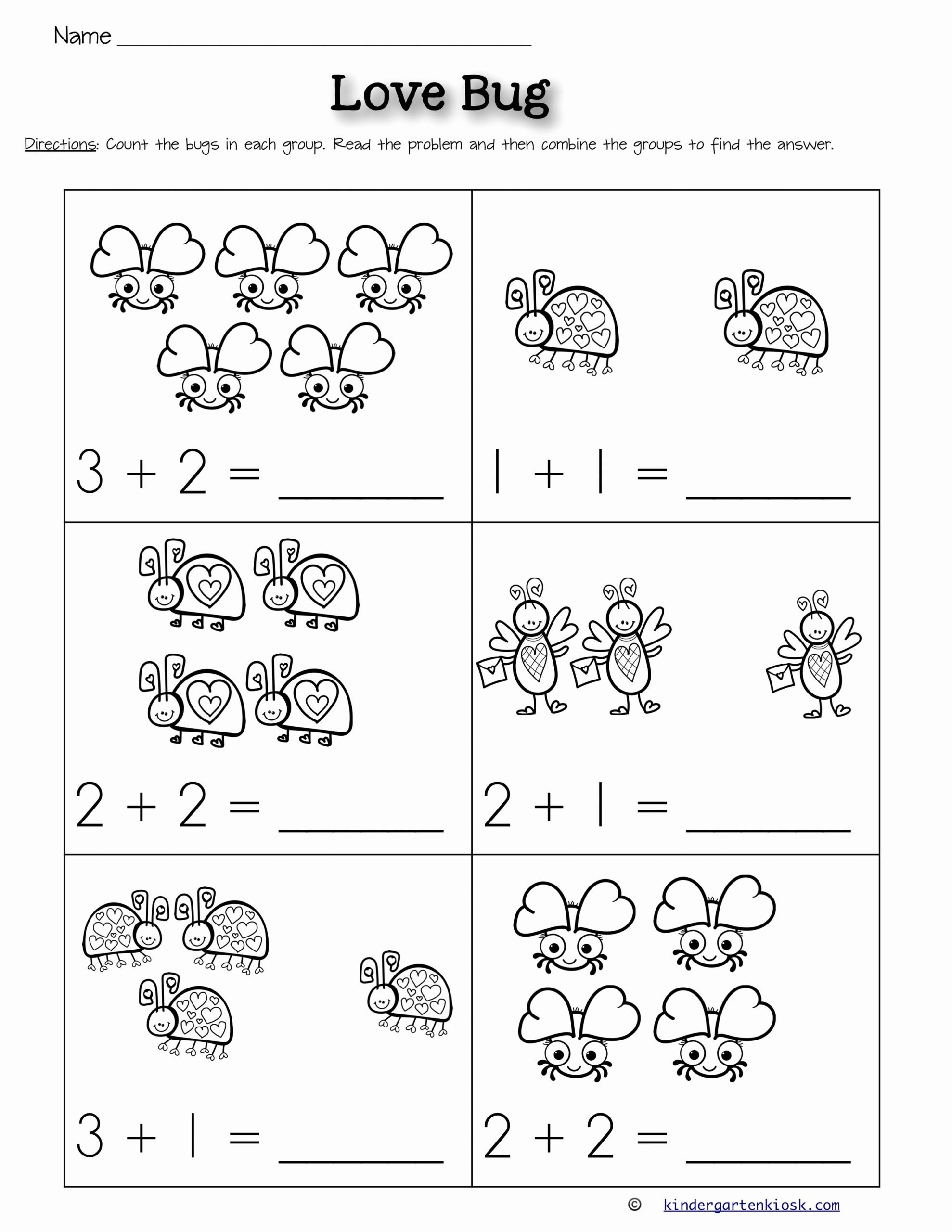 Addition Worksheets for Preschoolers with Pictures Kids Addition 0 5 Worksheets February