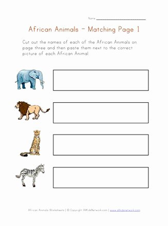 African Animals Worksheets for Preschoolers Best Of Animals Of Africa Matching Worksheet
