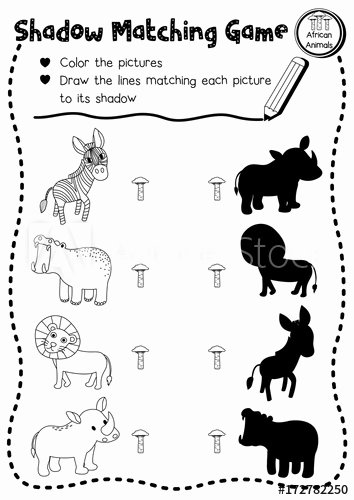 African Animals Worksheets for Preschoolers Free Shadow Matching Game Of African Animals for Preschool Kids