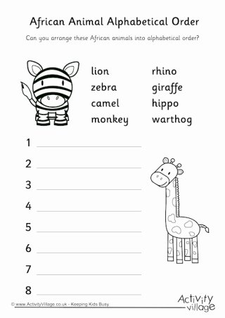 African Animals Worksheets for Preschoolers Ideas More African Animal Worksheets