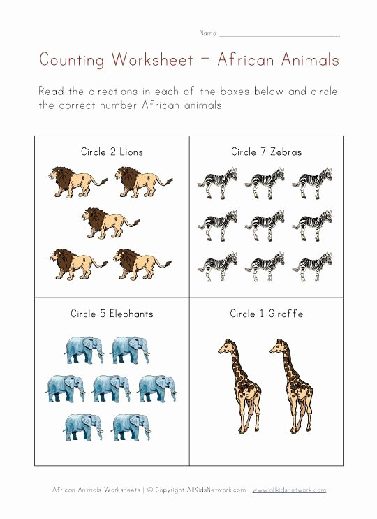 African Animals Worksheets for Preschoolers Lovely Animals Worksheets African Animals