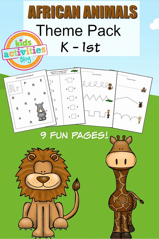 African Animals Worksheets for Preschoolers New African Animals Printable Kindergarten Worksheet Pack