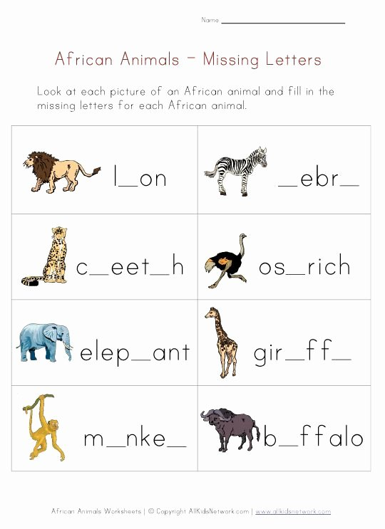 African Animals Worksheets for Preschoolers top Missing Letters Worksheet African Animals theme