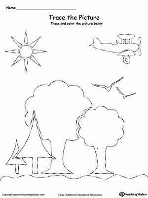 Airplane Worksheets for Preschoolers Fresh Trace the Picture Scenary Trees Sun Airplane and Birds