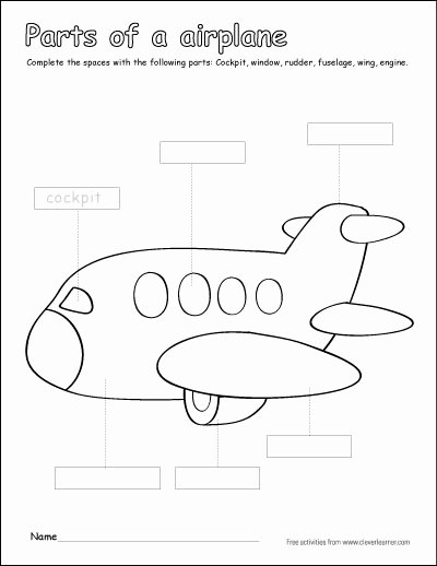Airplane Worksheets for Preschoolers Ideas Label and Color the Parts Of An Airplane