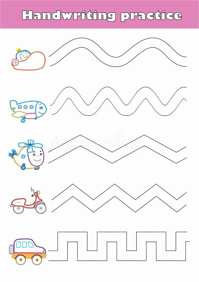 Airplane Worksheets for Preschoolers Ideas Trace Line Worksheet for Preschool Kids with Car Helicopter