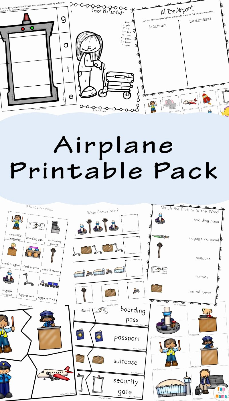 Airplane Worksheets for Preschoolers Kids Airplane for Kids Fun with Mama