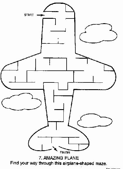Airplane Worksheets for Preschoolers Lovely Printable Mazes Print Your Easy Maze Airplane Puzzle