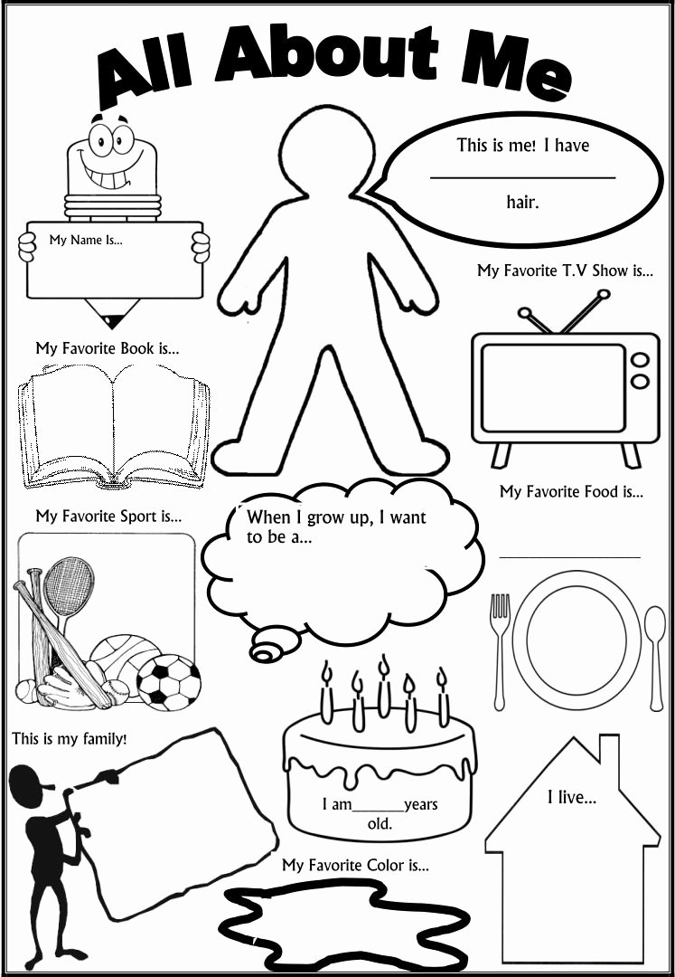 All About Me Printable Worksheets for Preschoolers Printable 6 Best All About Me Printable Template Printablee