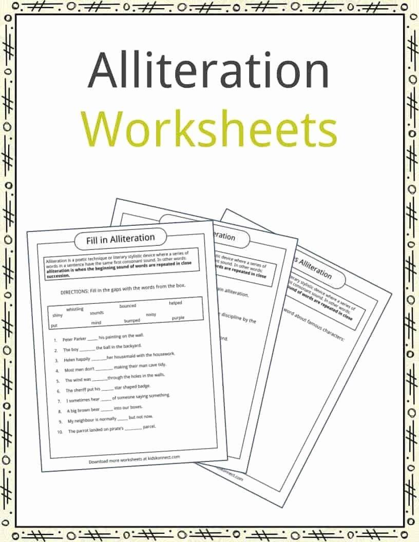 Alliteration Worksheets for Preschoolers Printable Alliteration Examples Definition & Worksheets