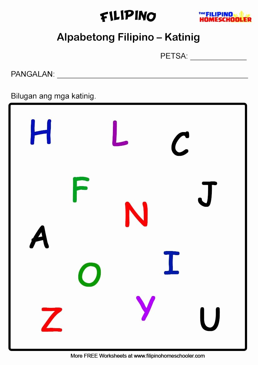 Alpabetong Filipino Worksheets for Preschoolers Free Filipino Katinig Worksheet Set 1b In 2020