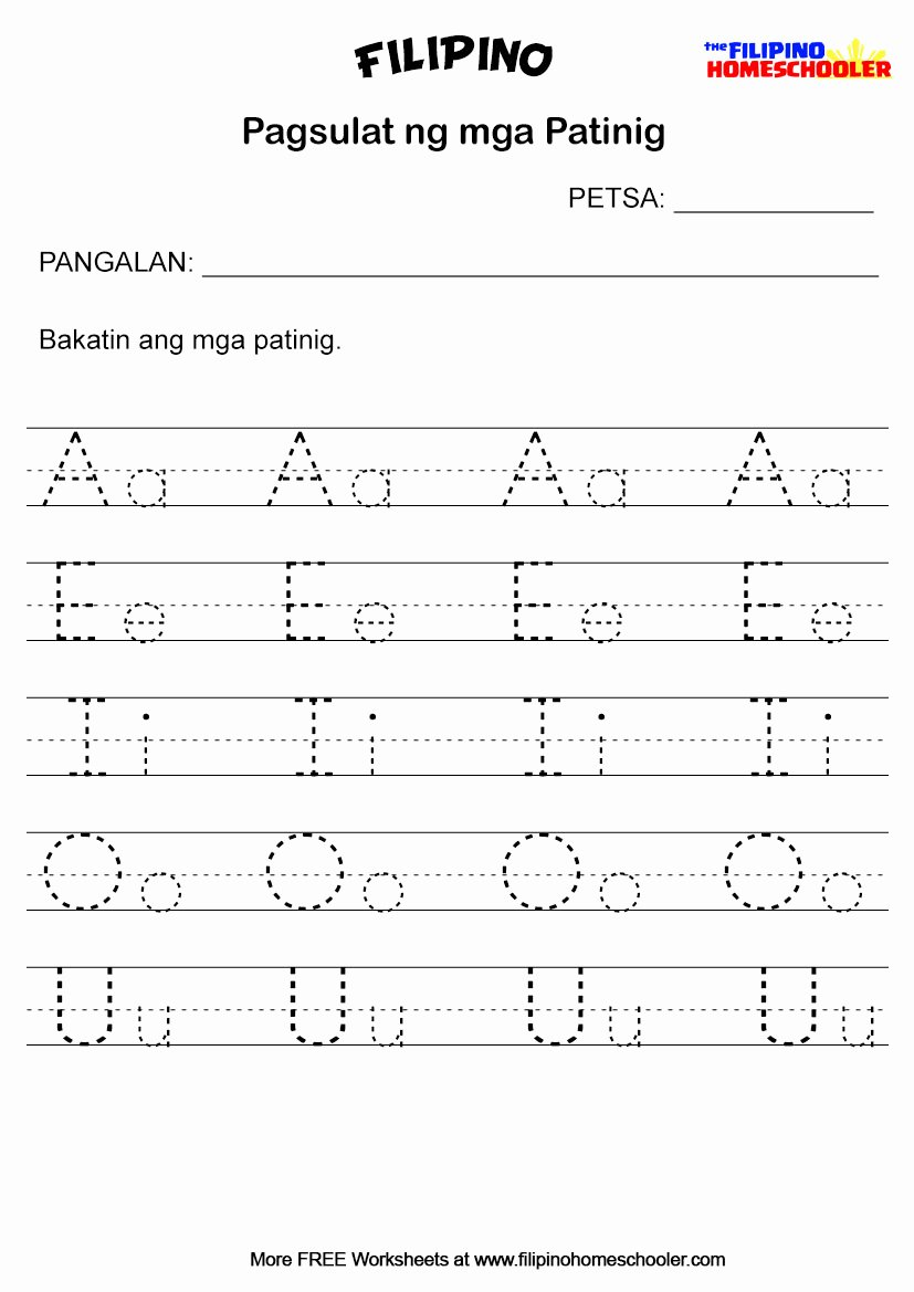 Alpabetong Filipino Worksheets for Preschoolers Printable Pagsulat Ng Mga Patinig Worksheets — the Filipino Homeschooler