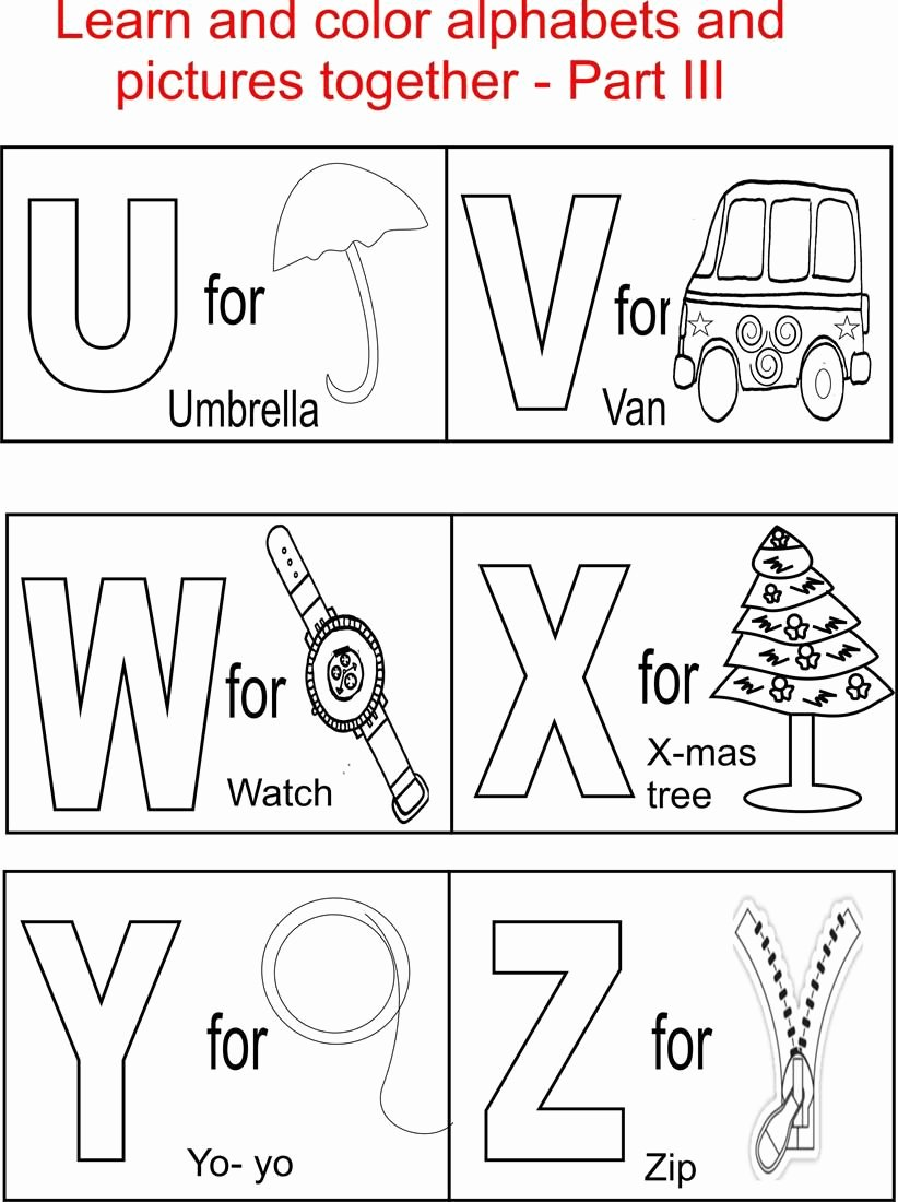 Alphabet Coloring Worksheets for Preschoolers top Alphabet Part Iii Coloring Printable Page for Kids