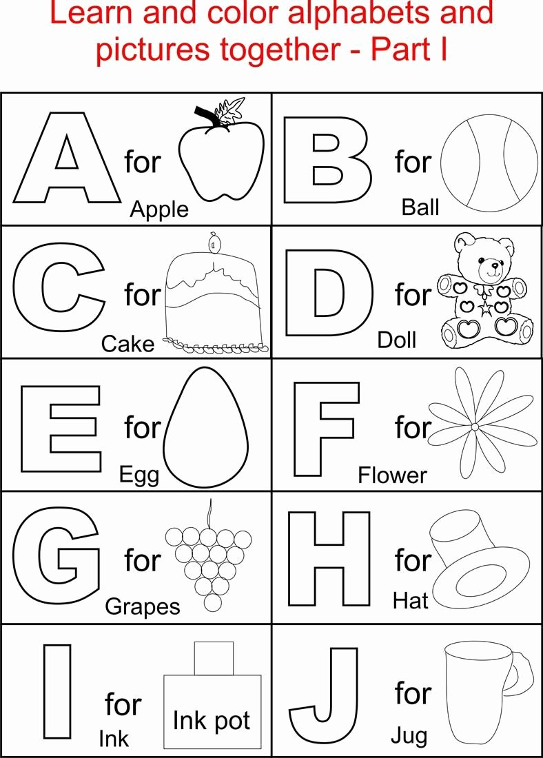 Alphabet Colouring Worksheets for Preschoolers Ideas Alphabet Part I Coloring Printable Page for Kids