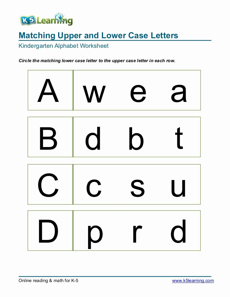 Alphabet Matching Worksheets for Preschoolers Ideas Kindergarten Matching Letters A B C D