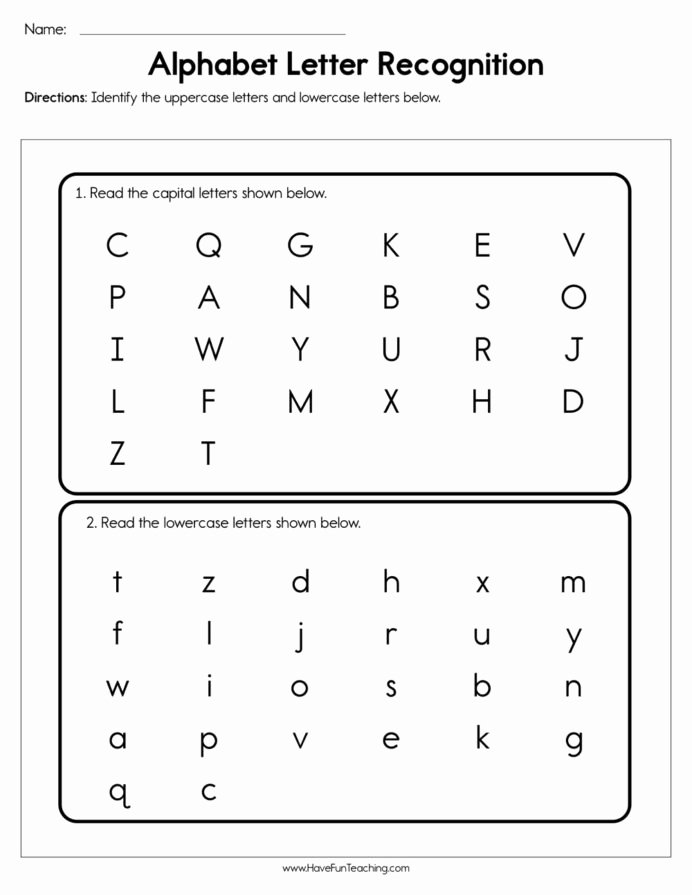 Alphabet Recognition Worksheets for Preschoolers Free Alphabet Letter Recognition assessment Have Fun Teaching
