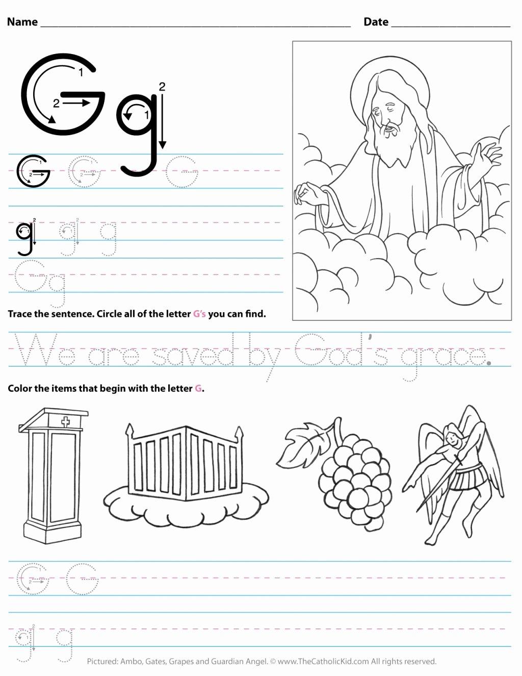 Alphabet Worksheets for Preschoolers Free Worksheet Kindergarten Letter Worksheets Catholic Alphabet