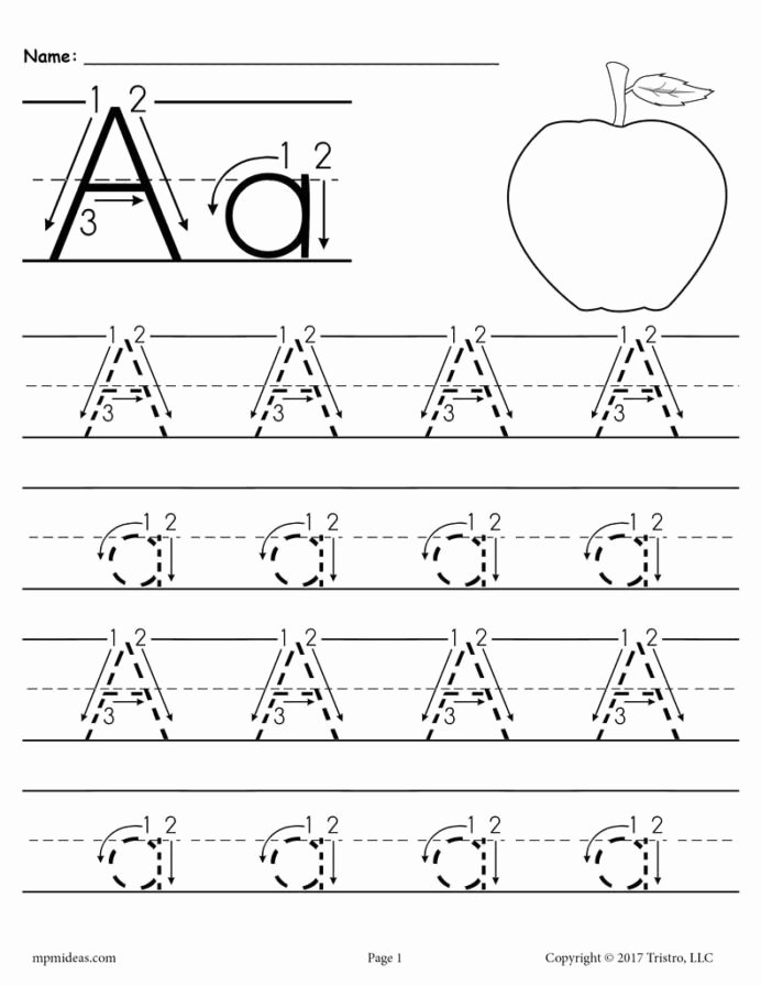 Alphabet Worksheets for Preschoolers Tracing Free Printable Letter Tracing Worksheet with Number and Arrow