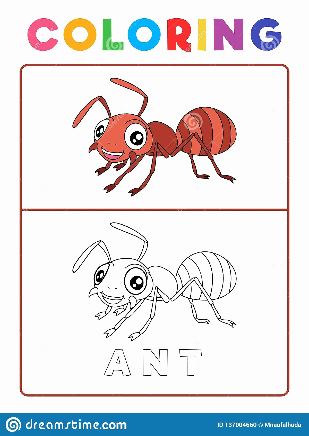 Ant Worksheets for Preschoolers Kids Funny Ant Insect Animal Coloring Book with Example