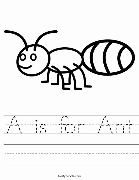 Ant Worksheets for Preschoolers Printable A is for Ant Worksheet