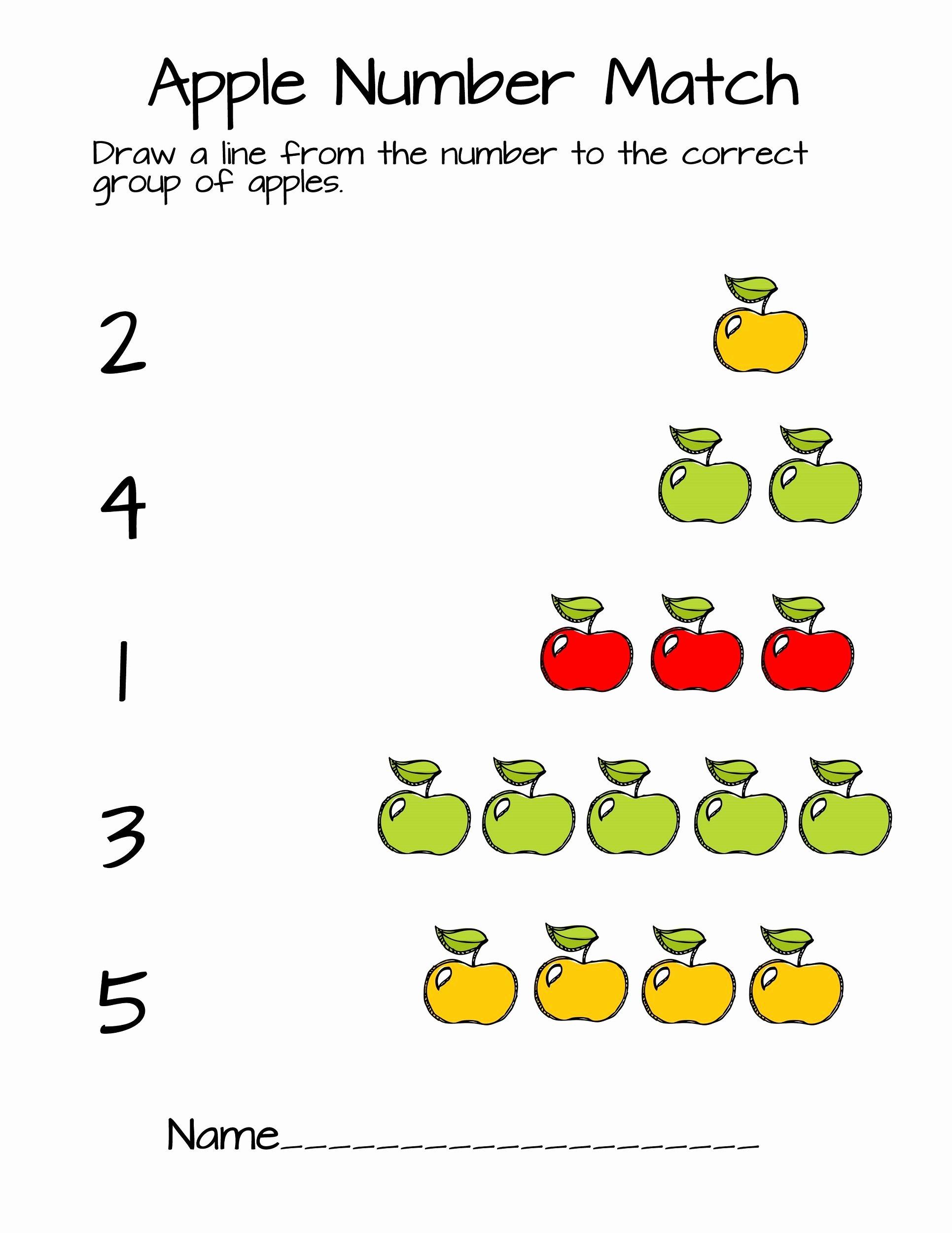 Apple Math Worksheets for Preschoolers Fresh Pre K Number Worksheets Apple Counting