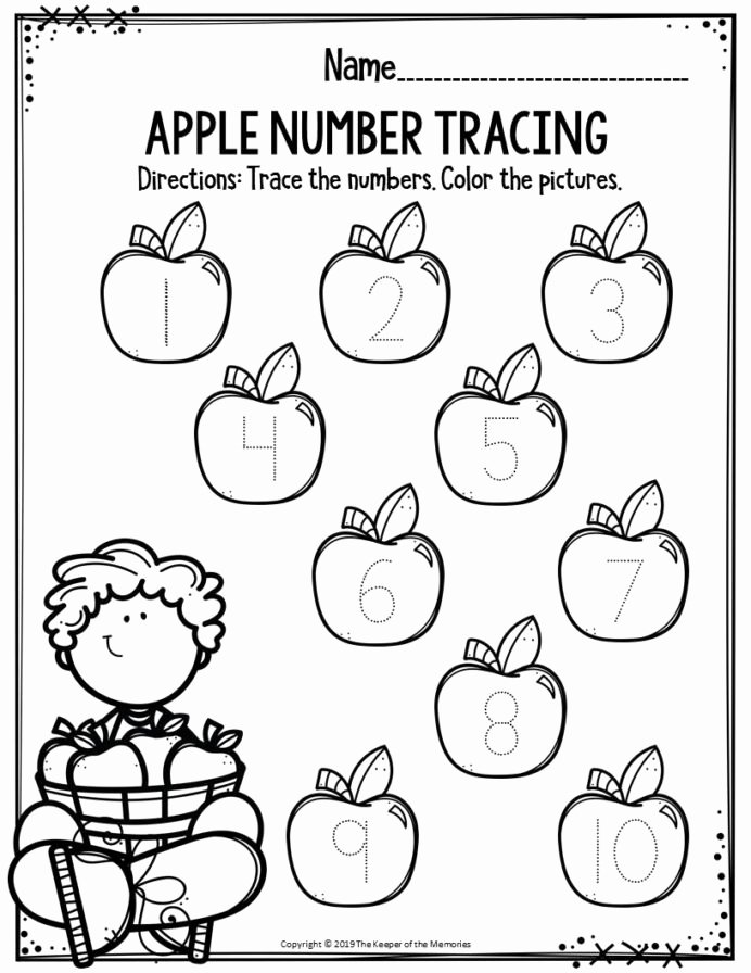 Apple Math Worksheets for Preschoolers Ideas Preschool Worksheets Apple Number Tracing the Keeper