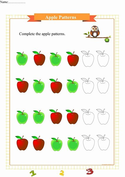 Apple Math Worksheets for Preschoolers Printable Apple Patterns Free Math Worksheets