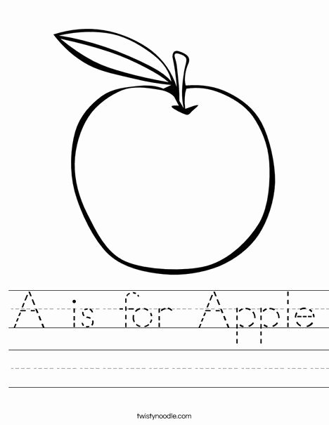 Apple Worksheets for Preschoolers Ideas is for Apple Worksheet From Twistynoodle Lessons Preschool