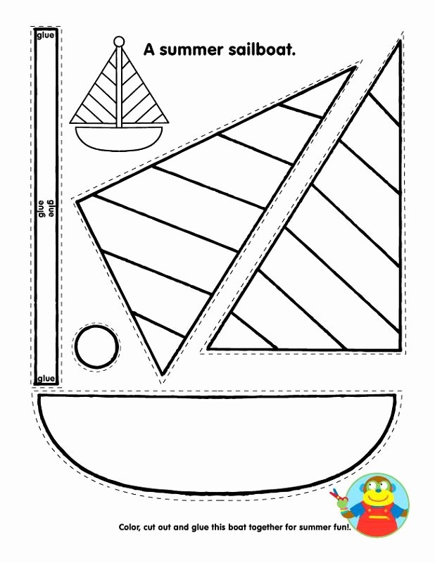 Arts and Crafts Worksheets for Preschoolers Free Printable Summer Sailboat Crafts for Kids