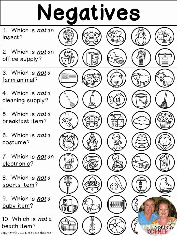 Association Worksheets for Preschoolers Free Language Activities Categories associations Negatives