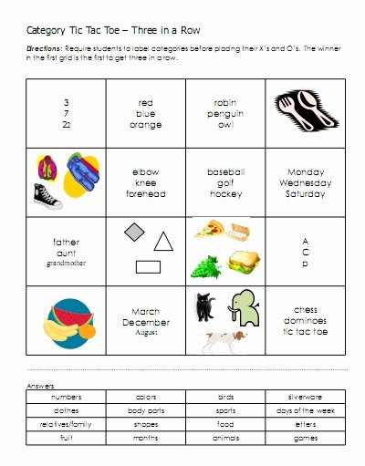 Association Worksheets for Preschoolers New Categories – Word Lists Activities Worksheets and More