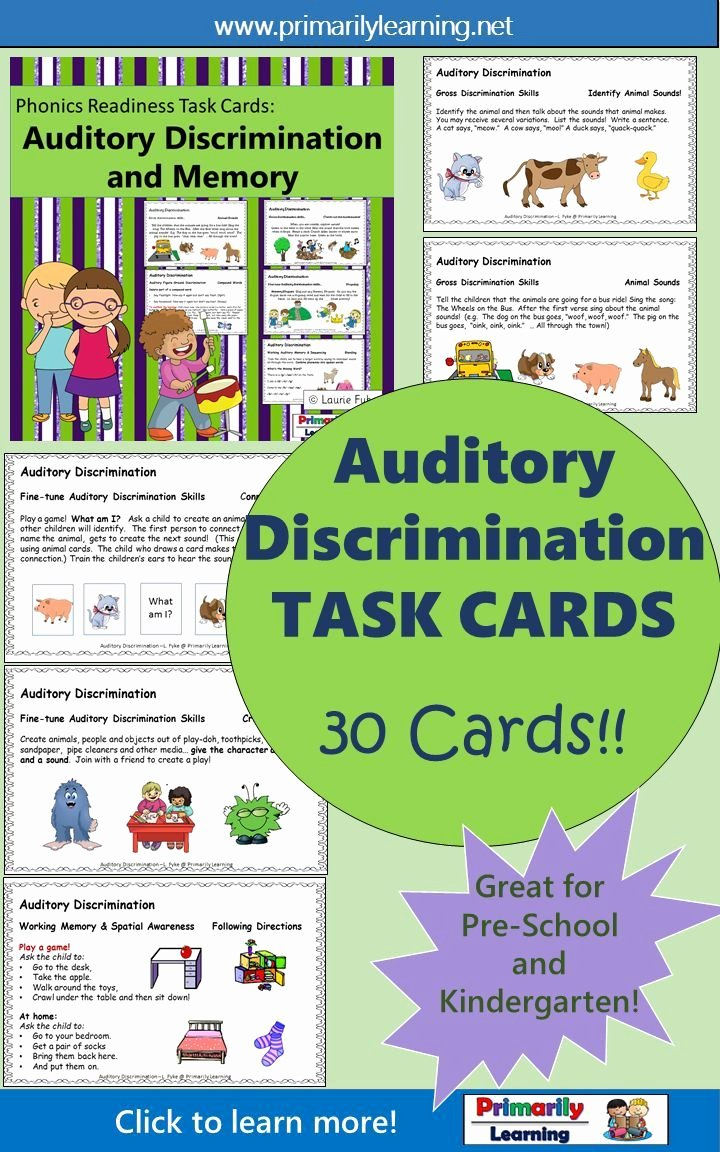Auditory Discrimination Worksheets for Preschoolers Fresh Auditory Processing Activities