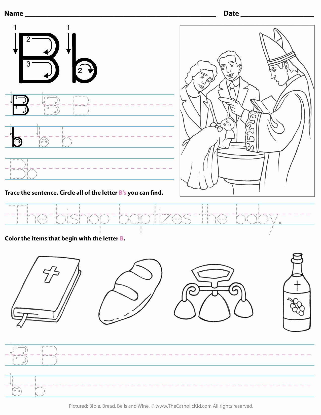 B Worksheets for Preschoolers Best Of Catholic Alphabet Letter B Worksheet Preschool Kindergarten