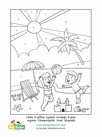 Beach Worksheets for Preschoolers Inspirational Beach Color by Number
