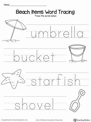 Beach Worksheets for Preschoolers top Worksheet Worksheet Beach Items Word Tracing