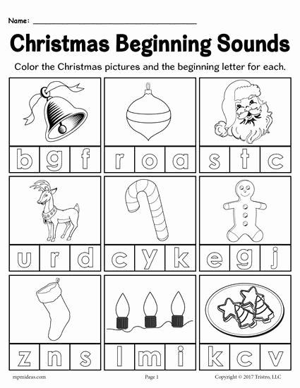 Beginning sounds Worksheets for Preschoolers New Printable Christmas Beginning sounds Worksheet