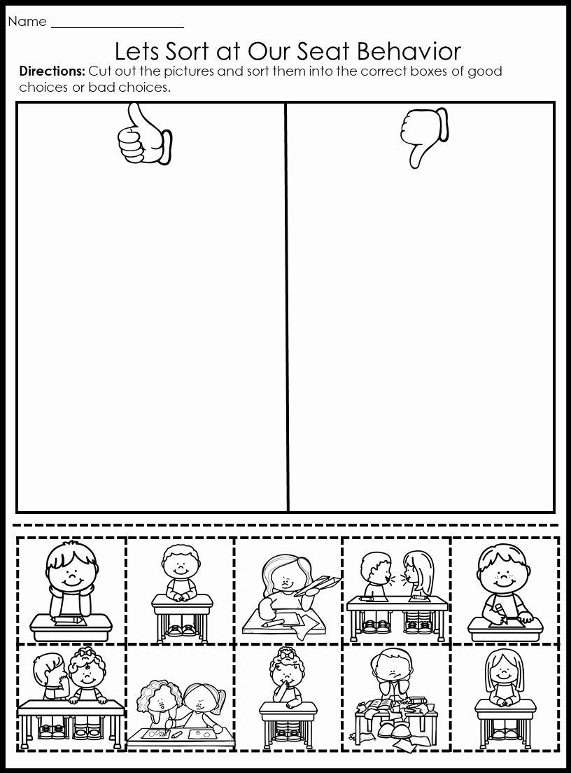 Behavior Worksheets for Preschoolers Ideas Behavior Picture sorts Back to School