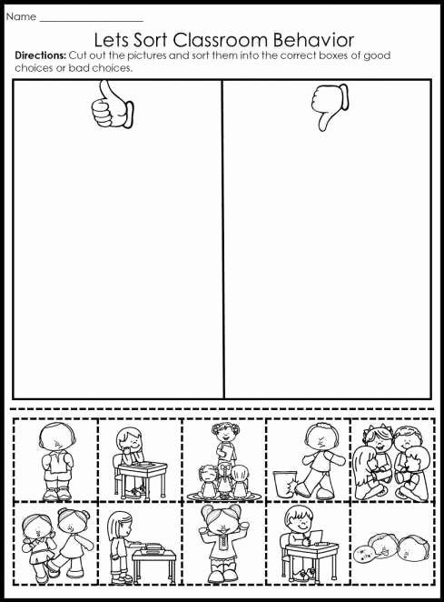 Behavior Worksheets for Preschoolers Inspirational Behavior Worksheet for Kindergarten and Behavior Picture