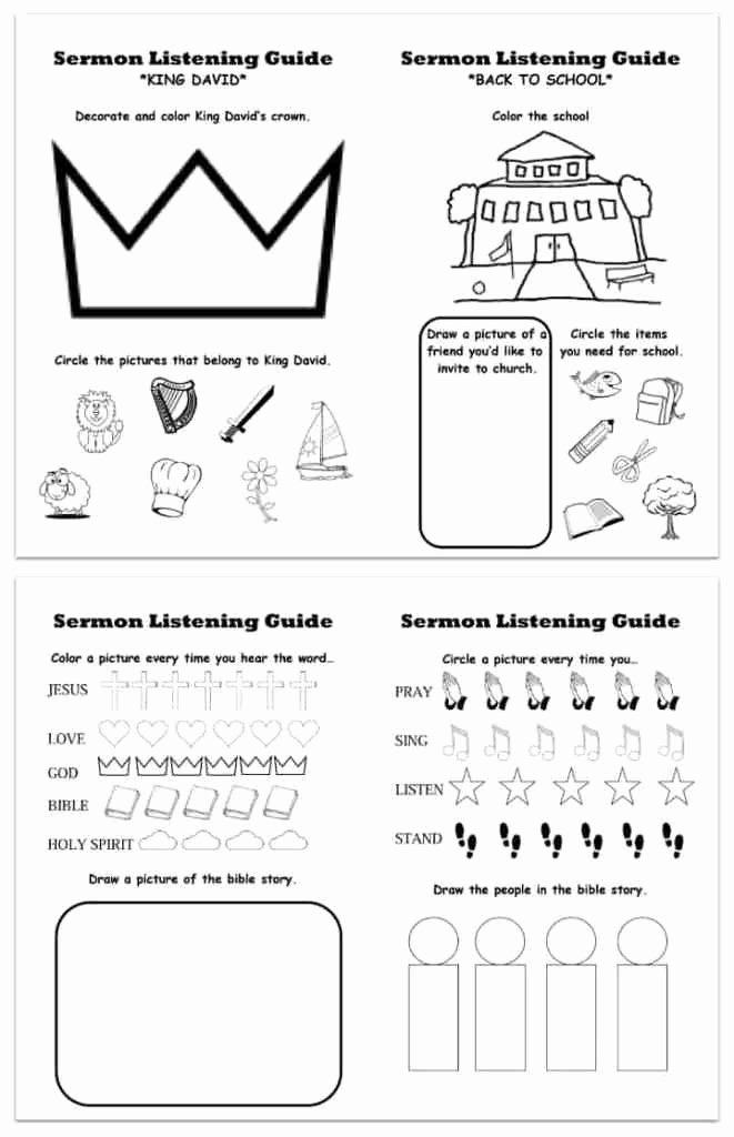 Bible Story Worksheets for Preschoolers Ideas Printable Sermon Listening Worksheets for Kids