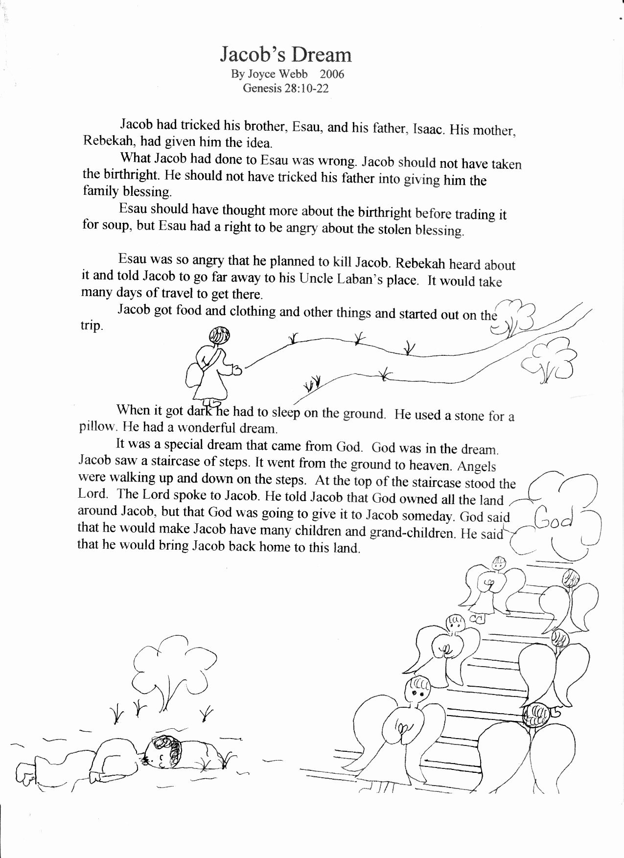 Bible Story Worksheets for Preschoolers Lovely Bible Worksheets Jacob S Dream with Images