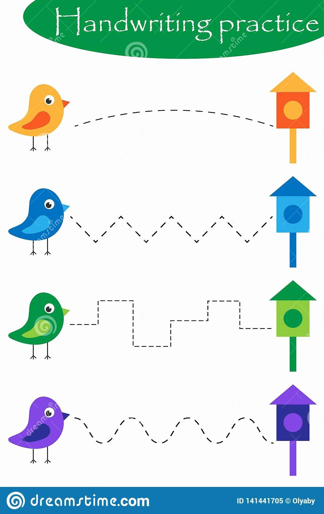 Bird Worksheets for Preschoolers Printable Birds and Nesting Boxes Spring Handwriting Practice Sheet