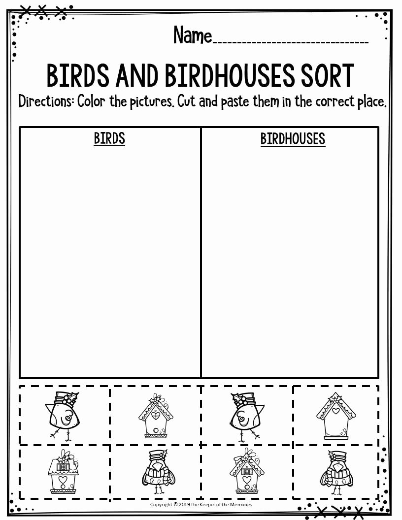 Bird Worksheets for Preschoolers Printable Preschool Worksheets Birds & Birdhouses sort the Keeper Of