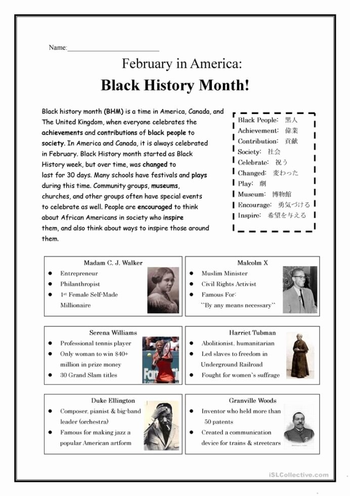 Black History Worksheets for Preschoolers Fresh Black History Month Worksheets Ancient Facts Science Act